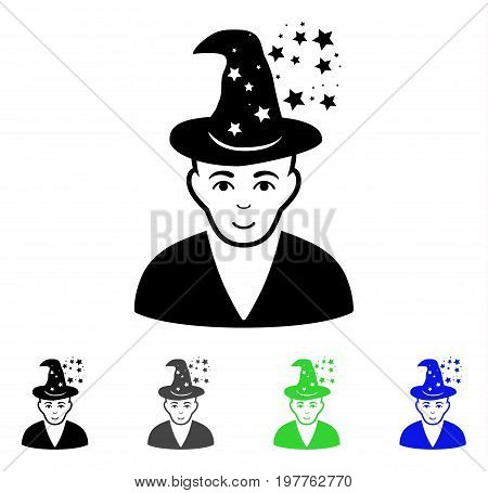 Magic Master flat vector illustration. Colored magic master gray, black, blue, green pictogram versions. Flat icon style for graphic design.