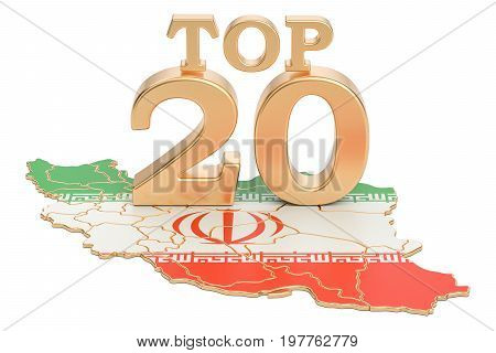 Iranian Top 20 concept 3D rendering isolated on white background