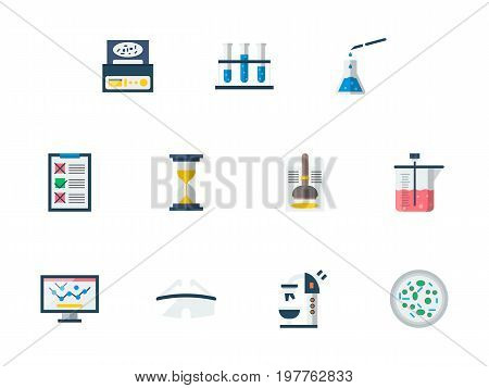Set of symbols for forensic examination. Laboratory equipment and medical tests. Collection of stylish flat color vector icons.