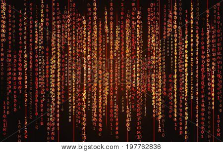 Red neon binary code on a black background