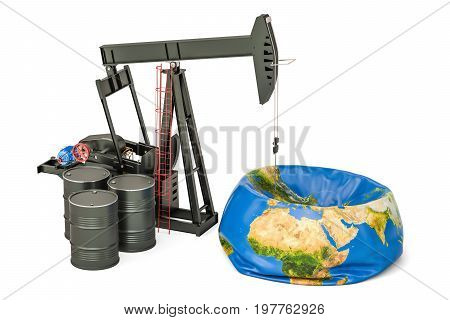 Pumpjack with oil barrels and deflated Earth globe oil production concept. 3D rendering