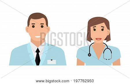 Doctor avatar illustration. Doctor icons. People icons collection: doctor and nurse. Doctor standing on white background in flat style.