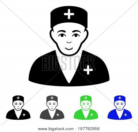Medic flat vector illustration. Colored medic gray, black, blue, green pictogram versions. Flat icon style for web design.