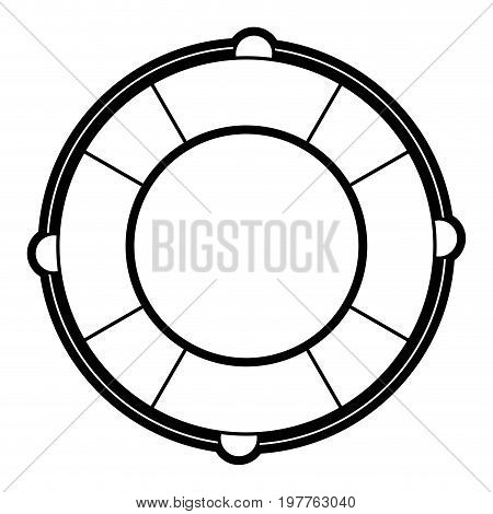 Flat line uncolored lifesaver over white background vector illustration