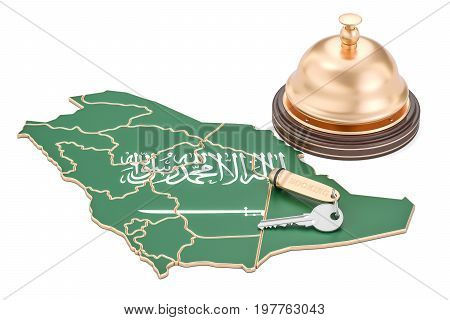 Saudi Arabia booking concept. Saudi Arabia flag with hotel key and reception bell 3D rendering