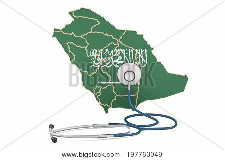 Saudi Arabia map with stethoscope national health care concept 3D rendering