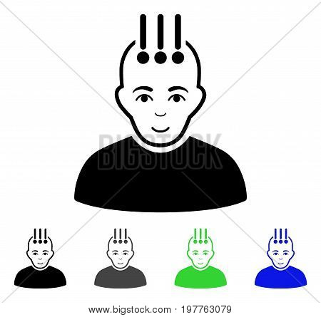 Neural Interface flat vector pictogram. Colored neural interface gray, black, blue, green icon variants. Flat icon style for graphic design.