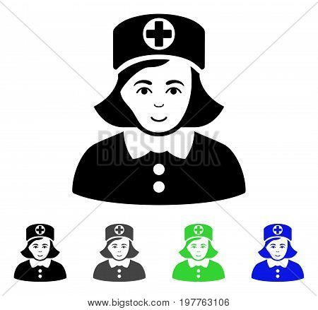 Nurse flat vector icon. Colored nurse gray, black, blue, green pictogram versions. Flat icon style for application design.
