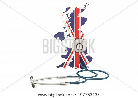 United Kingdom map with stethoscope national health care concept 3D rendering