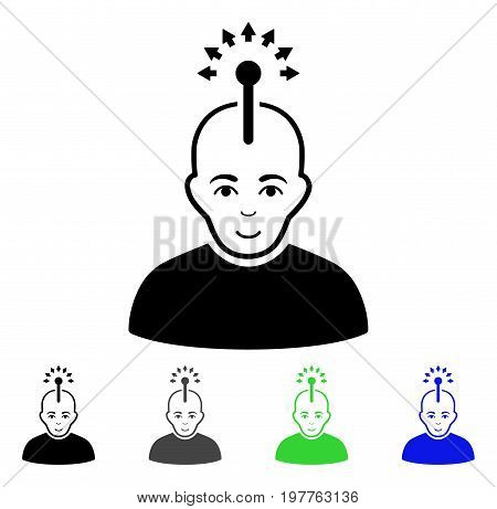 Optical Neural Interface flat vector pictogram. Colored optical neural interface gray, black, blue, green pictogram versions. Flat icon style for web design.