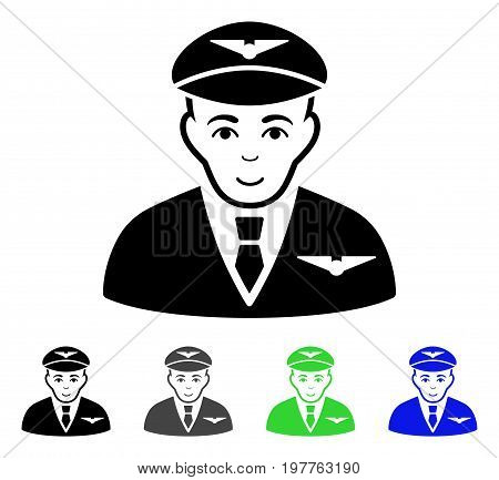 Pilot flat vector pictogram. Colored pilot gray, black, blue, green icon variants. Flat icon style for graphic design.