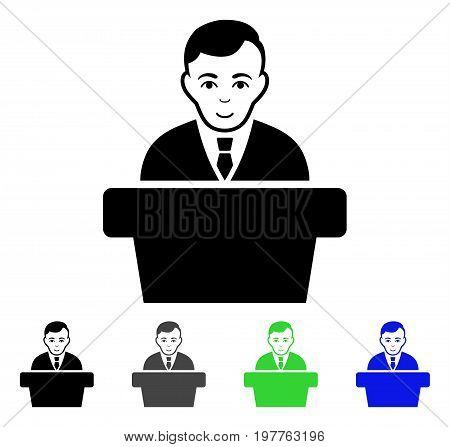 Politician flat vector pictograph. Colored politician gray, black, blue, green icon versions. Flat icon style for graphic design.