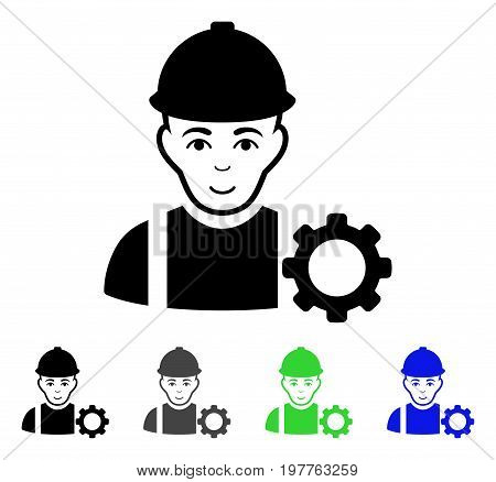 Repairman flat vector illustration. Colored repairman gray, black, blue, green icon versions. Flat icon style for web design.