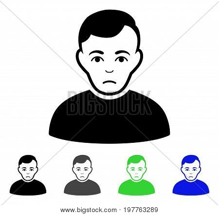 Sad Man flat vector pictogram. Colored sad man gray, black, blue, green icon variants. Flat icon style for application design.