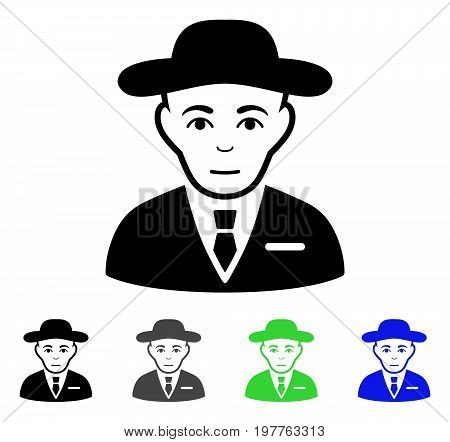 Secret Service Agent flat vector illustration. Colored secret service agent gray, black, blue, green pictogram variants. Flat icon style for web design.