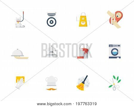 Set of symbols for home staff services. House work and household, pets care and nursing, driver and gardener. Collection of stylish flat color vector icons.