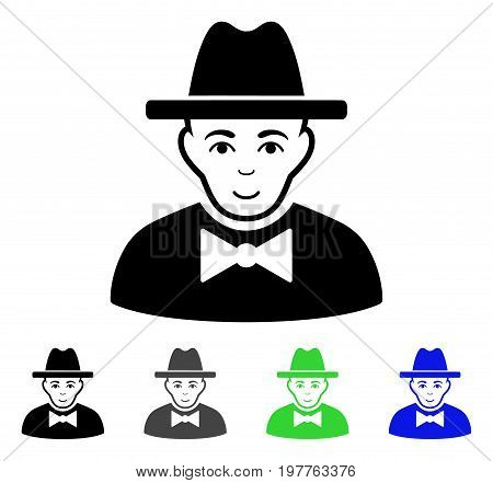 Spy flat vector illustration. Colored spy gray, black, blue, green icon variants. Flat icon style for application design.