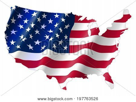 United States of America Map With Waving Flag Cridit Map By Nasa