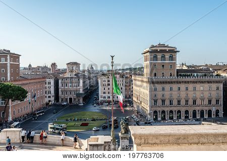 Rome Italy - August 20 2016: Altar of the Fatherland also known as National Monument to Victor Emmanuel II. It occupies a site between the Piazza Venezia and the Capitoline Hill and holds the Tomb of the Unknown Soldier with an eternal flame