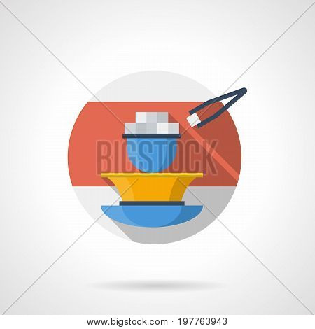 Abstract illustration of hookah charcoal in blue bowl and forceps. Elements for lounge. Round detailed flat color style vector icon.