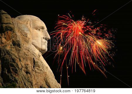 George Washington silhouette with fireworks in the background