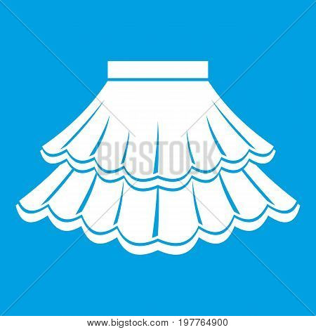 Skirt icon white isolated on blue background vector illustration