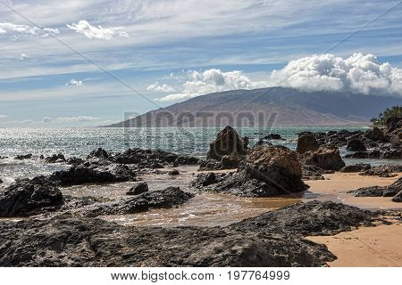 Near Kihei at Charley Young Beach looking towards the West Maui Mountains