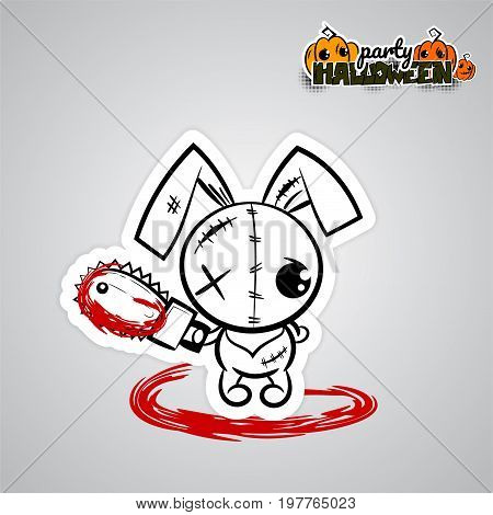 Pop art wow comic book text party. Ugly angry monochrome thread needle sewing voodoo doll. Vector illustration sticker paper. Halloween evil bunny rabbit cartoon funny monster electric saw blood.