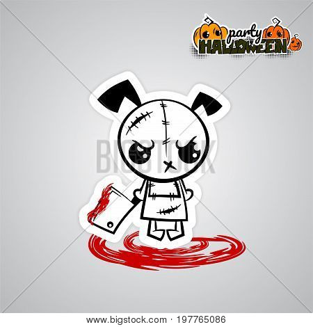 Ugly angry monochrome thread needle sewing voodoo doll. Vector illustration sticker paper. Halloween evil dog puppy cartoon funny monster blood knife. Pop art wow comic book text poster party.