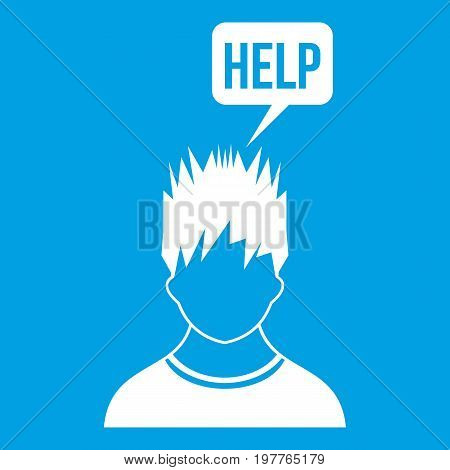 Man needs help icon white isolated on blue background vector illustration