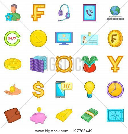 Finance icons set. Cartoon set of 25 finance vector icons for web isolated on white background