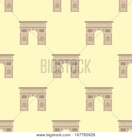 Triumphal arch architecture travel europe and history old famous place seamless pattern france monument vector. Construction cityscape exterior marble touristic avenue memorial