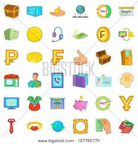Bank icons set. Cartoon style of 36 bank vector icons for web isolated on white background