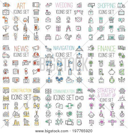 Shopping, finance, business, communications, wedding, navigation internet website mega set outline vector icons illustration