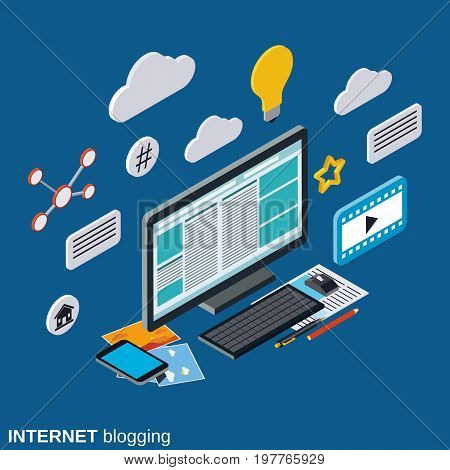 Internet blogging, blog management, web publication flat isometric vector concept