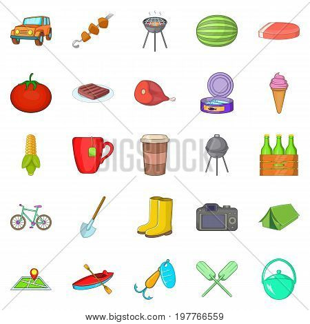 BBQ evening icons set. Cartoon set of 25 BBQ evening vector icons for web isolated on white background