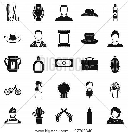 Wild west icons set. Simple set of 25 wild west vector icons for web isolated on white background