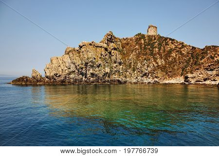 Sparviero rock a small island in the Tyrrhenian Sea the coast of Tuscany known by the presence of the Appiani Tower which was one of the outposts south of the Principality of Piombino.