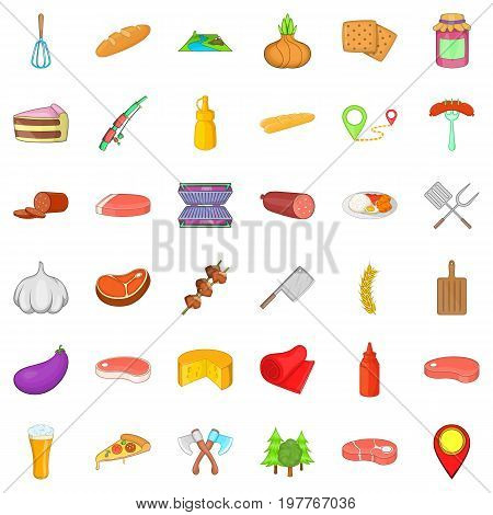 Food for barbecue icons set. Cartoon style of 36 food for barbecue vector icons for web isolated on white background