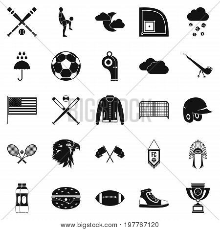 Kinds of sports icons set. Simple set of 25 kinds of sports vector icons for web isolated on white background