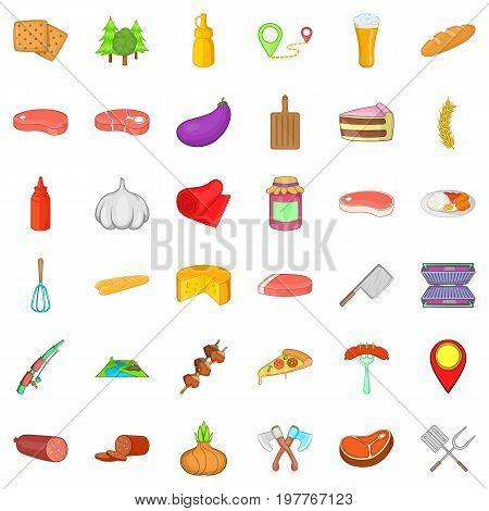 Barbecue rest icons set. Cartoon style of 36 barbecue rest vector icons for web isolated on white background