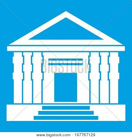 Colonnade icon white isolated on blue background vector illustration