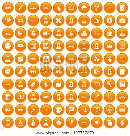 100 initiation icons set in orange circle isolated vector illustration