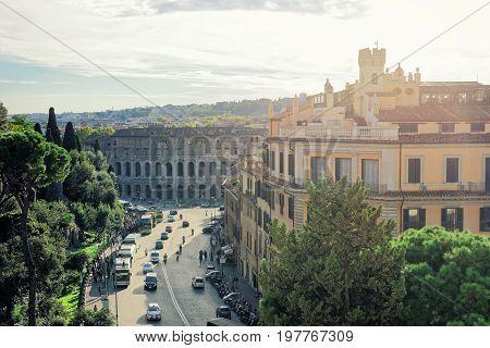 Rome, Italy - October 15, 2016: Via dei Fori Imperiali and Colosseum in Rome Italy