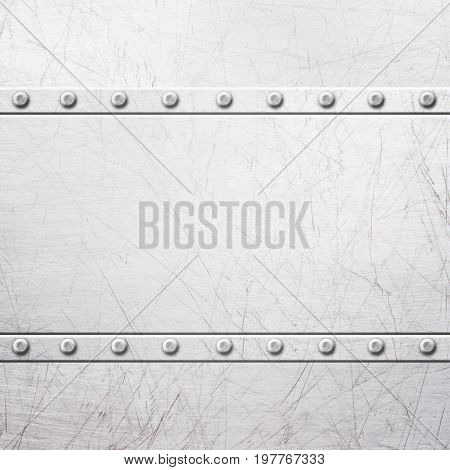 Old Rustic Metal Plates With Rivets Seamless Background Or Texture, 3D, Illustration