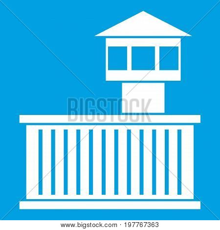 Prison tower icon white isolated on blue background vector illustration