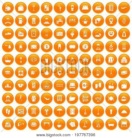 100 inn icons set in orange circle isolated vector illustration