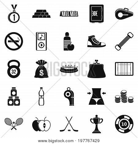 Sports nutrition icons set. Simple set of 25 sports nutrition vector icons for web isolated on white background