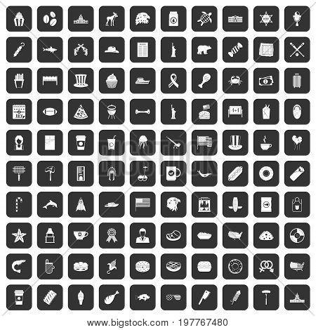 100 USA icons set in black color isolated vector illustration
