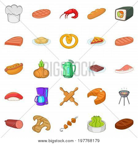 Meat delicacy icons set. Cartoon set of 25 meat delicacy vector icons for web isolated on white background